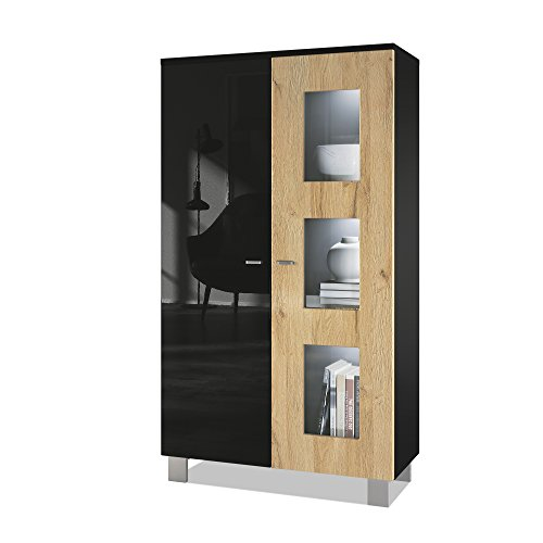 Vladon Tall Display Cabinet Cupboard Denjo, Carcass in Black matt/Front in Black High Gloss and Oak Nature, with LED lights in White