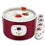 NBWS Yogurtera eléctrica automática, 1 L, recipiente multifunción, máquina de vino de arroz Natto con acero inoxidable para el hogar