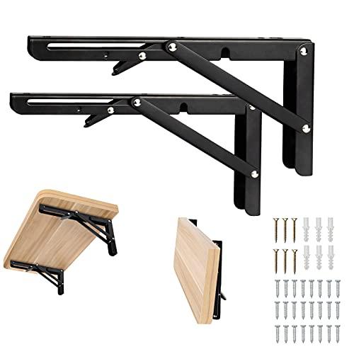 Folding Shelf Brackets 10 Inch,Shelf Brackets Stainless Steel, Metal Collapsible Shelf Bracket for Bench Table, Shelf Hinge Wall Mounted Space Saving DIY Black Bracket, Max Load 154 LB 2 PCS