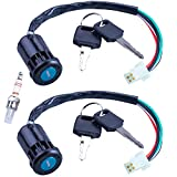 MWMNUN Ignition Key Switch 2pcs 4-Wire 4-pin and A7TC Spark Plug Replacement for Taotao Coolster Sunl 50cc 70cc 90cc 110cc 125cc Chinese ATV Dirt Bike Quad Go Kart Moped Scooter Parts