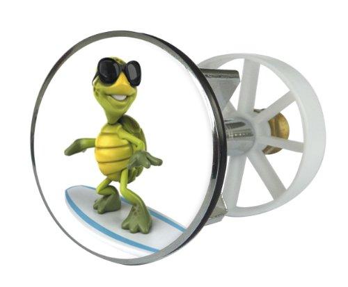 Waschbeckenstöpsel Design Surfing-Turtle | Abfluss-Stopfen aus Metall | Excenterstopfen | 38 – 40 mm