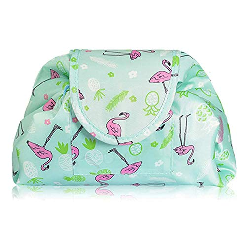 SYN-GUGAI Cosmetic Case Makeup Bag Lazy Drawstring Makeup Organizer Storage Bag Cosmetic Jewelry Barrel Cosmetic Bag Pouch Large Capacity Portable Foldable,Green flamingo