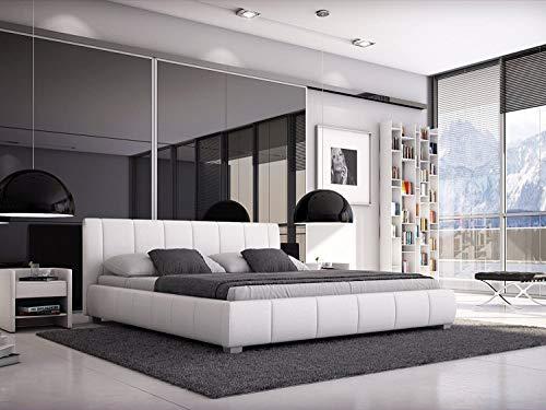 SAM® Polsterbett 140x200 cm Leo, weiß, Bett mit gepolstertem, hohen Kopfteil, modernes Design