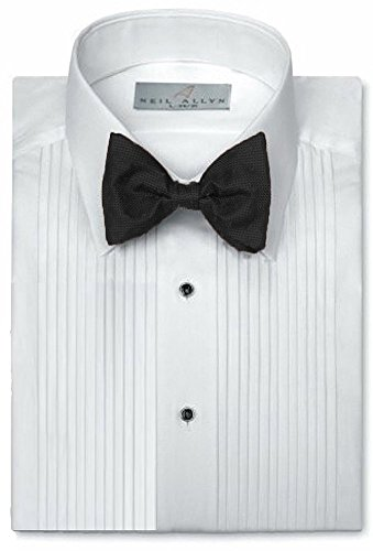 Neil Allyn Mens Tuxedo Shirt Poly/Cotton Laydown Collar 1/4 Inch Pleat (16.5 X 32-33)White