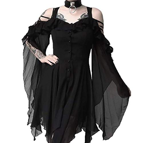 Vestidos para Mujer Casual, Vestido a Media Pierna gótico con Hombros Descubiertos y Mangas con Volantes Dark In Love para Mujer, Vestidos Elegantes para Mujer (Negro XL)