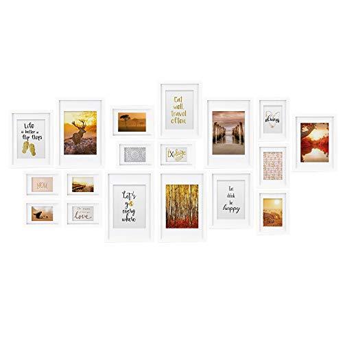bomoe Juego de marcos de fotos múltiples para la pared Passion Collage - 18 piezas - Con paspartú - Blanco - 6x 10,5x15cm / 4x 13x18cm / 4x 18x24cm / 4x 20x30cm