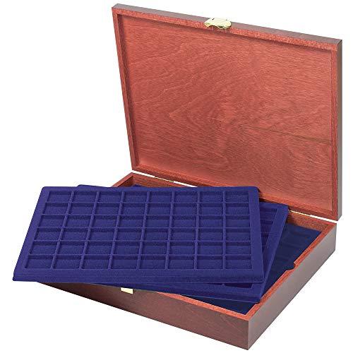 LINDNER Echtholz Münzkassette für 240 Münzen/Münzkapseln bis Ø 30 mm, z.B für 2 Euro-Münzen und Champagner-Kapseln - Sonderedition