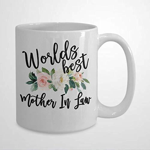 N\A Taza de café Divertida de la Mejor Suegra del Mundo Los Mejores Regalos para Suegra Novedad Taza de té de cerámica Regalo de cumpleaños de Navidad para Hombres y Mujeres