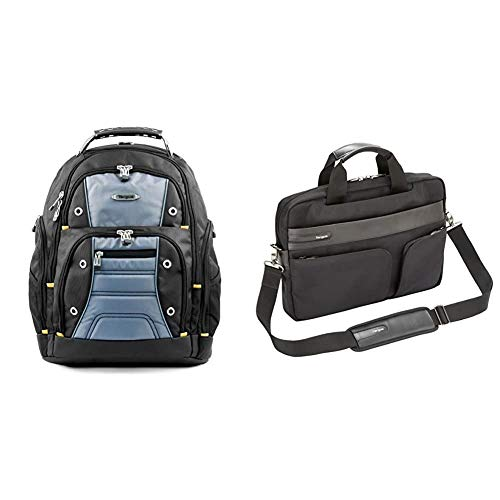 Targus Drifter Backpack fits up to 15.6-Inch Laptop, Black/Grey (TSB238EU) & Lomax Ultrabook 13.3-Inch Topload Business Commuter Laptop Case and Messenger Bag, Black (TBT236EU)