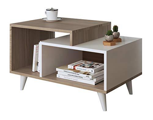 SAGE Table basse de salon - Blanc ( Brillant ) / Avola ( Mat ) - Table de canapé - Table café moderne dans un design à la mode
