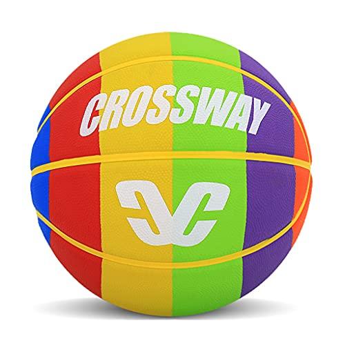 YCX Baloncesto de goma arco iris tamaño 6 adulto mujer tamaño 7 baloncesto de alto rendimiento interior y exterior, (con bomba)