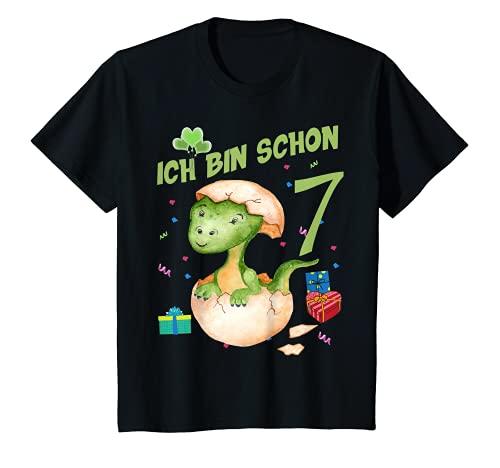 Niños Camiseta de cumpleaños con diseño de dinosaurio 7 años Camiseta