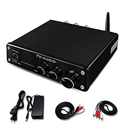 FX AUDIO Bluetooth Amplifier Home Audio—2.1 Channel Mini HiFi Stereo Class D Amplifier Wireless—SUB 100W with Bass&Treble Control for Home System(Black)