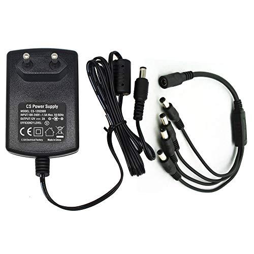 AC zu DC 12V 2A Netzteil Adapter mit 4-Fach Verteilerkabel, Stecker 5,5mm x 2,1mm für CCTV-Kamera DVR LED String Licht