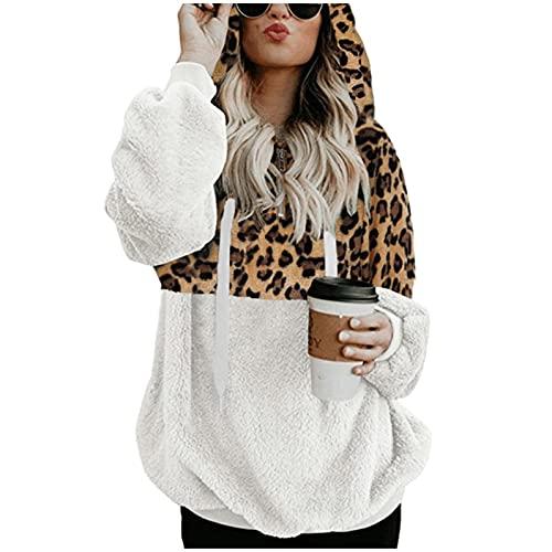 Hoodie Mujer Zip Sudadera con Capucha para Mujer Media Cremallera Sudadera de Lana Sudadera con Estampado de Leopardo Costuras Hoodies Cordón Abrigos Mujer Rebajas Tallas Grandes 5 Colors S-5xl