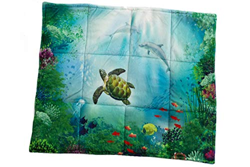 Weighted Lap Pad - 6LBS - Color and Size Variety! - Warm Sensory Lap Blanket: Perfect for Kids in School, at Home, or in The Car! - Great Gift for Parents and Seniors! (Ocean, 20' x 24')