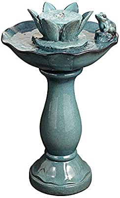 "John Timberland Pleasant Pond Frog Lotus Modern Outdoor Floor Water Bubble Fountain 25 1/4"" High Scalloped Pedestal Bowl for Yard Garden Patio Deck"
