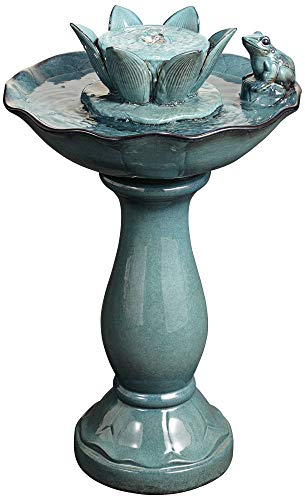 John Timberland Pleasant Pond Frog Lotus Modern Outdoor Floor Water Bubble Fountain 25 1/4' High Scalloped Pedestal Bowl for Yard Garden Patio Deck