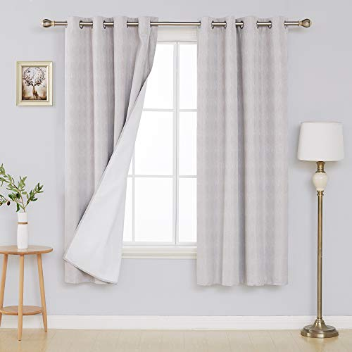 Deconovo Complete Blackout Curtains Cream with Triple-Pass Coating Back Layer Thermal Insulated Light Blocking Curtains for Bedroom 52x72 Inch Sliver Grey 2 Panels