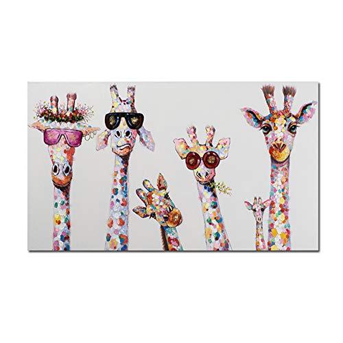 Graffiti Art Art Peinture sur Toile Motif girafes curieuses Impression de Famille Impression décorative pour Chambre d'enfant 60 x 120 cm sans Cadre