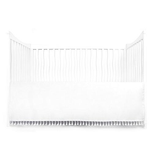 Tadpoles Microfiber Crib Skirt with Tassel, White