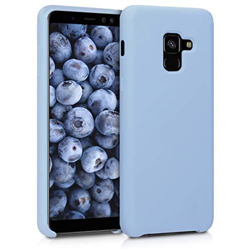 kwmobile Hülle kompatibel mit Samsung Galaxy A8 (2018) - Handyhülle gummiert - Handy Case in Hellblau matt