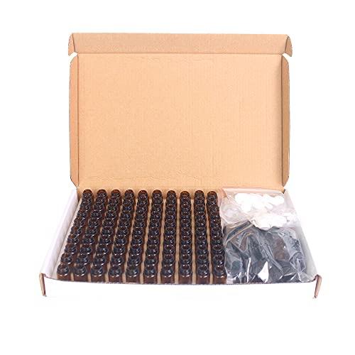 Zwbfu 100 botellas de cristal marrón de 1 ml para aceites esenciales, botellas vacías rellenables con tapas negras para perfume de aceite esencial.