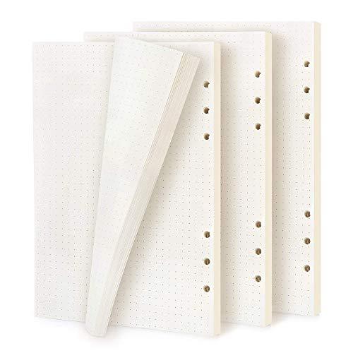 Gobesty 3 Packung A5 Papier Gepunktet, 6 Löcher Nachfüllpapier Dot Grid Paper, 120 Blatt / 240 Seiten Nachfüllbare Refill Paper, Nachfüllseiten Ersatzblätter für Notizbuch, Tagbuch, Skizze, Malerei