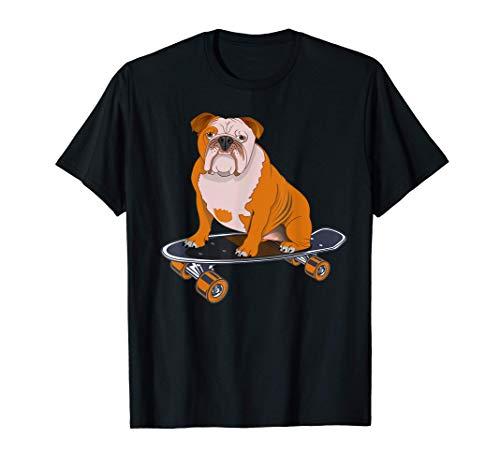 Gracioso Bulldog Inglés Montar Un Monopatín Lindo Regalo Camiseta