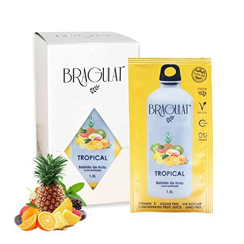 BRAGULAT   Zumo Concentrado de Frutas Tropicales   Bebidas y Refrescos Instantáneos en Polvo   Sin Azúcar y con Vitamina C   15 Sobres
