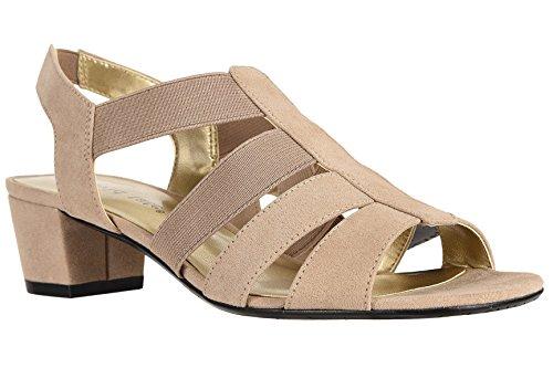 David Tate Women's Delight Dress Sandal, Color: Taupe Nova Suede, Size: 10 WW US
