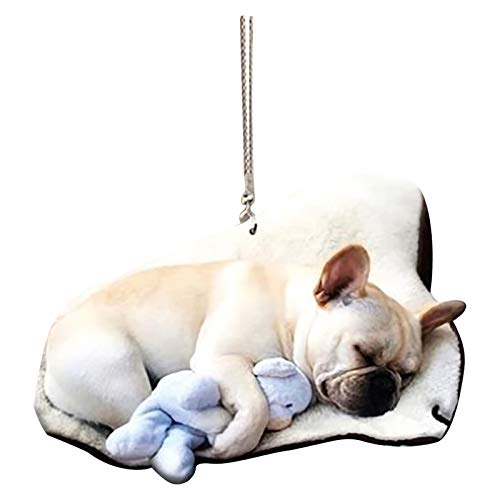 Cute Funny French Bulldog Car Hanging Ornament, Colorful Acrylic Hanging Decor, Rear View Mirror Pendant, Suitable for Dog Lovers