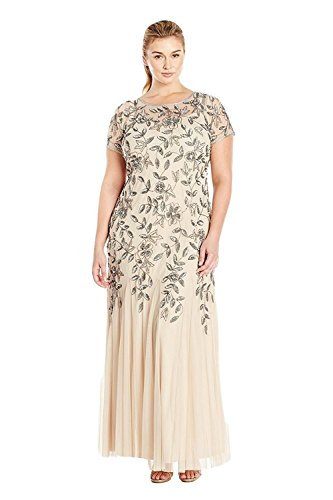 Adrianna Papell Women's Plus-Size Floral Beaded Gown with Godets, Taupe/Pink, 18W