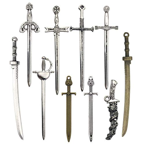 Youdiyla 10 PCS Sword Katana Dagger Charms Collection, Mix Samurai Ananta Tachi Knife Stiletto Fencing Metal Pendant Supplies Findings for Jewelry Making (HM150)