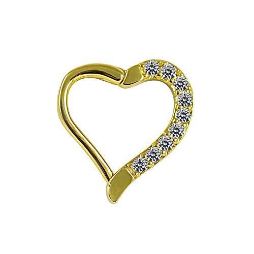 Gold Anodized Micro Einstellung CZ Stein Herz Knorpel Clicker Verschluss Knorpel Daith, Helix, Tragus Piercing Ring