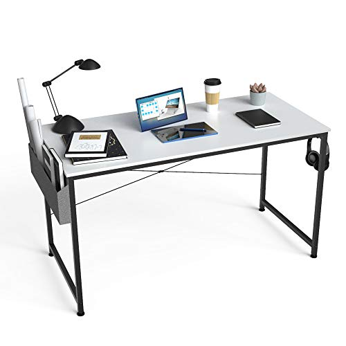 HOMIDEC Escritorio de Ordenador, Mesa de Oficina, Mesa de Ordenador con Bolsa de Almacenamiento, Fácil de Montar, Mesa de Escritura para Oficina en Casa, 100 x 60 x 75 cm (Blanco)