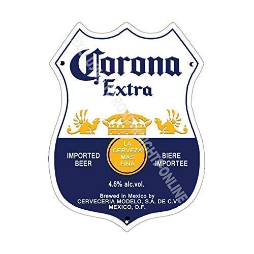 CORONA EXTRA lager birra pubblicità Bar VECCHIO pub birra pubblicità Bar VECCHIO pub bevande POMPA DISTINTIVO Brewery BOTTE BARILE Draught VERO Birra Pinta ALCOOL LUPPOLO forma metallo / steel targa