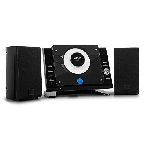 oneConcept Vertical 70 - Stereoanlage Black Edition mit MP3-fähigem CD-Player, MP3-fähiger USB-Port, LCD-Display, AUX-Anschluss, integriertes UKW-Radio, Zufallswiedergabe, Fernbedienung, schwarz