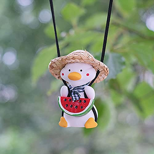 KCRPM Swing Duck Car Pendant, Flying Duck Car Mirror Hanging Ornament, Car Interior Rearview Mirrors Charms (Straw Hat Watermelon Duck)