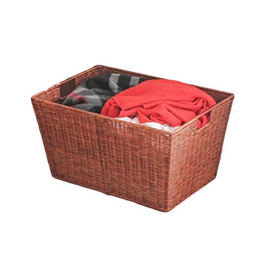 ZHAOSHUNLI Panier à linge Panier à linge Panier De Rangement Bambou Rotin Rectangulaire Ménage Chambre À Coucher Jouets Divers Rangement (Color : Brown)