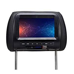 Monitor de reposacabezas para automóvil de 7 pulgadas, Reproductor de video DVD Reproductor MP4 / Media Transmisor FM, Reproductor de video para reposacabezas para automóvil con LCD táctil, 720P