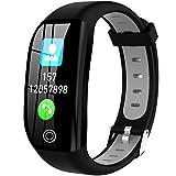 HAOYF Fitness Tracker Mit Herzfrequenz Blutsauerstoff Blutdruckmessgerät, Schrittzähler Smartwatch Mit Schlafmonitor, Schrittzähler GPS Aktivitäts Tracker Für Kinder Frauen Männer,Grau