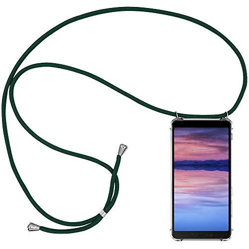 CLM-Tech Handykette kompatibel mit Xiaomi Redmi 6A - Hülle mit Kordel zum Umhängen - Silikon Schutzhülle transparent mit Band Schnur, grün