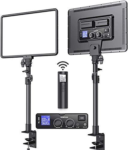 LED Videolicht, SAMTIAN 2 Stücke dimmbare LED Videoleuchte mit C-Tischklemmen,Bi-Farbe 3200K-5600K Kamera Licht Panel, Fotolicht Set für Fotografie YouTube Studio Videoaufnahmen