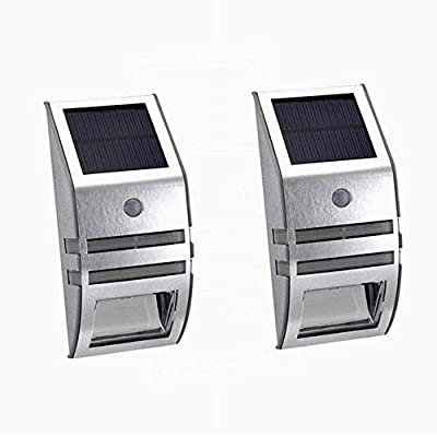 BeyongGear Solar Powered Stair Light with Sensor for Outdoors Stairs, Steps, Deck, Pathway, Fence Post, Back Yard, Motion Detect Accent Landscape Security Wall Porch