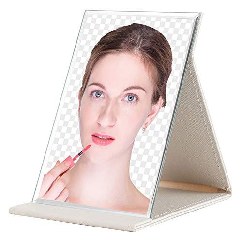 Generis Mini Miroir de Maquillage pour Le Voyage - Miroir de Vanité Pliant Portable & Compact Faux Cuir Miroir De Maquillage De Table pour Poche pour Sac à Main (Blanc/S)