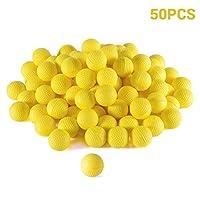 BSMEAN 50ピースラウンド弾薬、バルクフォーム弾丸ボール交換詰め替えパックnerfライバルゼウス、アポロ、カオス、アトラス&アルテミスブラスターの子供のおもちゃ、黄色