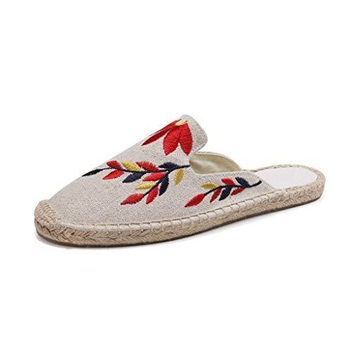 WXDP Pantuflas Calientes,Zapatillas Zapatillas de Mujer, Zapatillas de casa para Mujer Zapatos de Pescador, Zapatos de Tela Bordados de Pekín Antiguo Sandalias Zapatos de casa Ligeros, cómodos y
