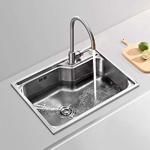 XLAHD Stainless Steel Sink for Washing with Faucet, Undermount Topmount Drop-in Installation Hand Basin for Restaurant, Kitchen and Home (57x43x21cm) Cupboard Organisers