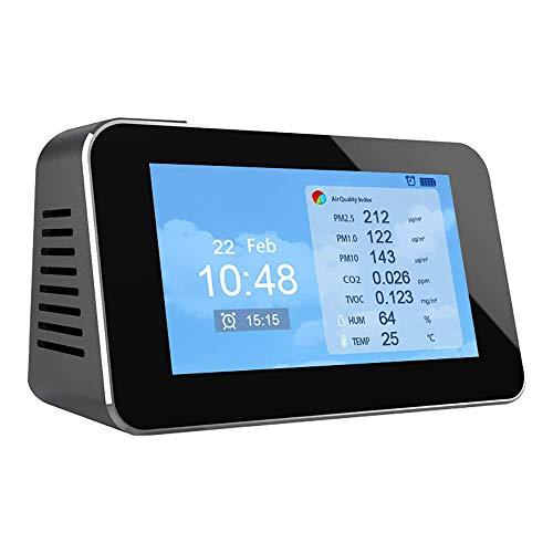InLoveArts Luftqualitätsmonitor drinnen, 12 in 1 Luftverschmutzungsmesser Mikrostaubdetektor für PM2.5 PM10 CO2 Formaldehyd (HCHO) TVOC AQI Einfach zu bedienender und lesbarer Gasdetektor